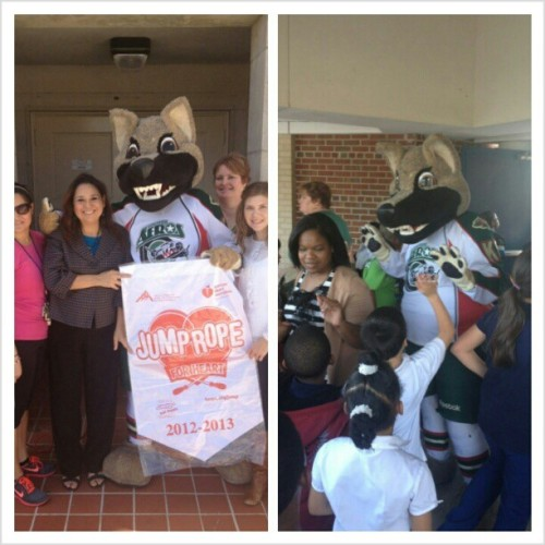 Everyone's favorite mascot is at Garden Villas Elementary to kick off #AHA's Jump Rope for Heart program. #OnAMission