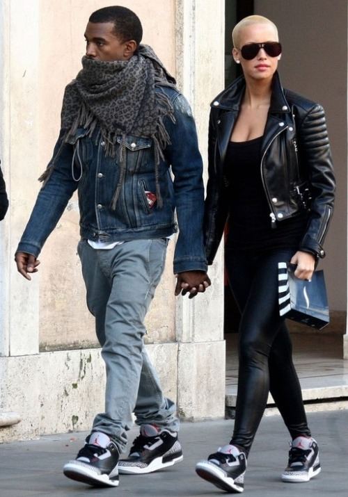 witnessfashion:  The (Ex-) Files: Kanye West and Amber Rose His & Hers. Does it get any better than this? Air Jordan Retro 3's