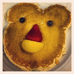 Micky Mouse pancake…. Kinda…. I feel like a kid! (at Blueberry Field Pancake House)