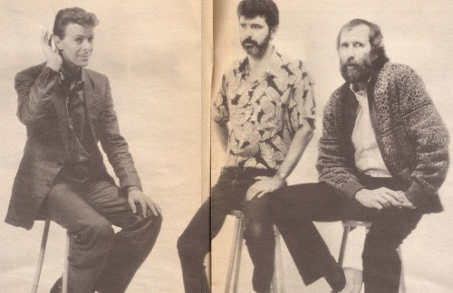 labyrinthnook:  George Lucas giving David Bowie the stink eye as Jim Henson gazes into the middle distance. I can only guess at what Bowie's doing - perhaps his best deaf old granny impression?  This photo is awesome all around.