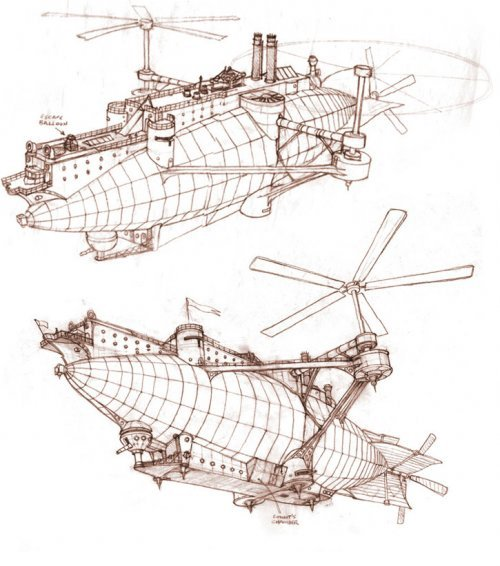 "Airship Conept Art from: ""The Secret Adventures of Jules Verne"""