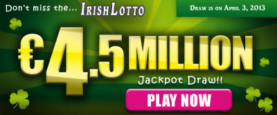 osalottos:  Irish Lotto Draw: EU 4.5M Jackpot on April 3There was NO jackpot winner in the March 30 Irish Lotto draw. The winning numbers were 05-11-12-17-42-44 and Bonus Ball 08. The Irish Lotto Jackpot on Wednesday, April 3 is an estimated EU 4.5M.Play the Irish Lotto now!