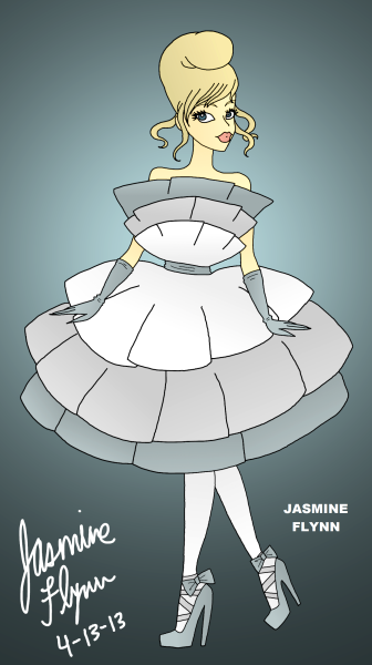 Blue Layered Ruffle Dress. a digital drawing by me, Jasmine Flynn :)