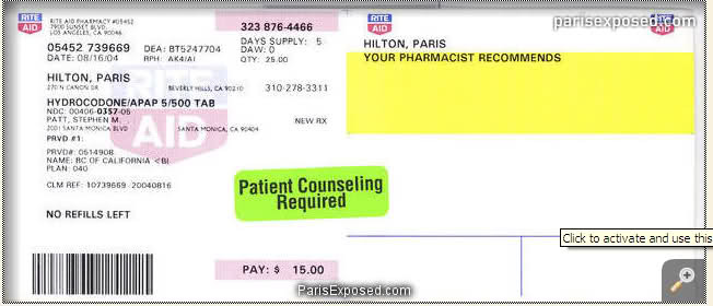 parisexposed:  Paris RX for Hydrocodone.
