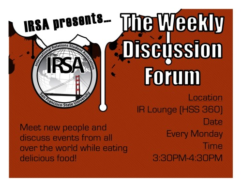 Topics to be discussed will be announced via the IRSA mailing list. If you'd like to sign up, let us know through irsa@mail.sfsu.edu and see you there!