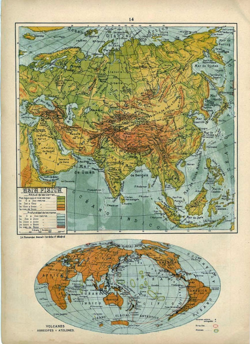 Asia Relief Map and World Map Vintage 1942 at CarambasVintage http://etsy.me/ZlbWKp
