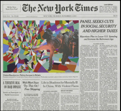 Via artsy/hyperallergic Fred Tomaselli's New York Times frontpage prints and drawings are another example of an artist who uses the city in fascinating (and indirect) ways. In works like Nov. 11, 2010(2011) Tomaselli takes a city icon and transforms the main image with his trippy sensibility to make it come alive. It's his way of talking back and transforming news into something more timeless. This city has magical tendencies and we think these works capture a little of that pixie dust.