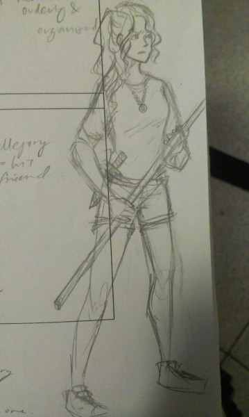 ruinedgold:  i drew an annabeth (((the thing she's holding is a spear)))