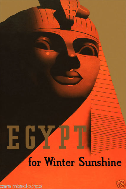 merelygifted:  Art Deco Egypt travel poster via ebay  … and the screaming heebie-jeebies.