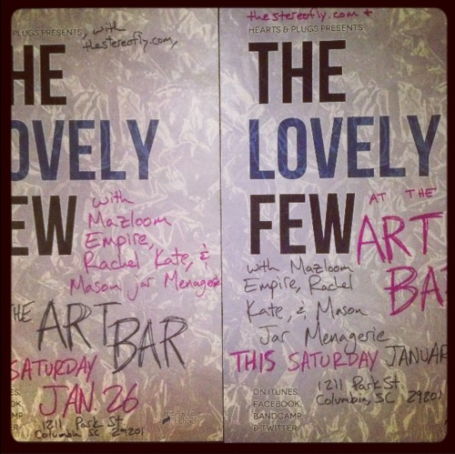 we're playing the Stereofly showcase this Saturday night at the Art Bar with Rachel Kate, Mazloom Empire, and Mason Jar Menagerie.   come hang out with us.  see what we've been up to.