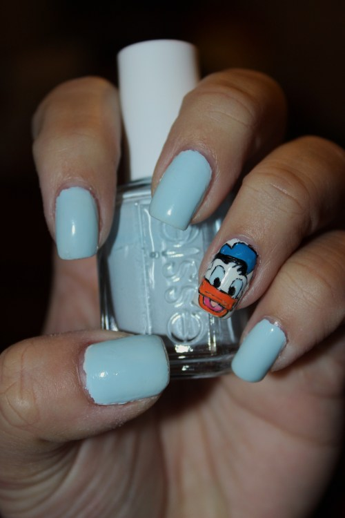 Donald Duck using Essie's Borrowed and Blue.Enjoy! :)