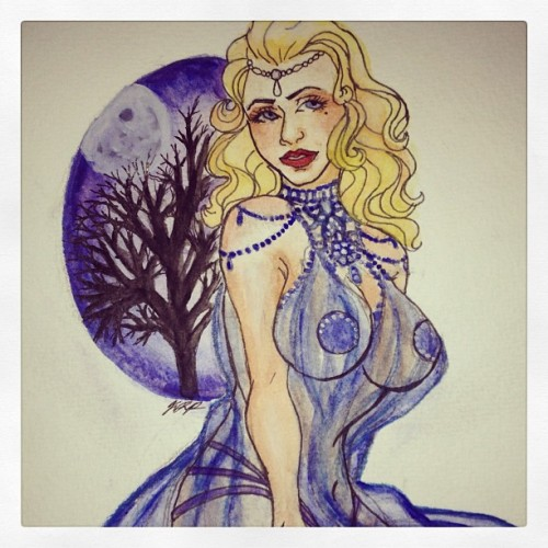 Goddess of the moon. Burlesque watercolor.