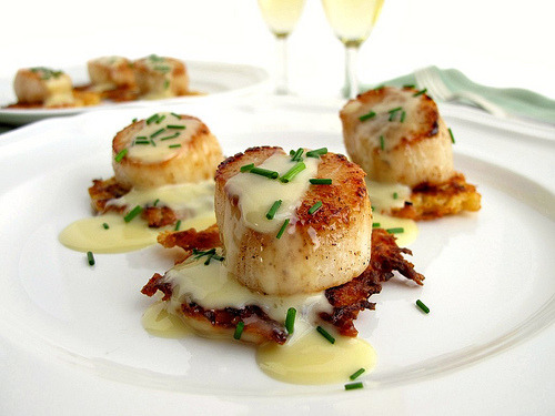 in-my-mouth:  Seared Scallops Over Celeriac Pancakes with Champagne Beurre Blanc
