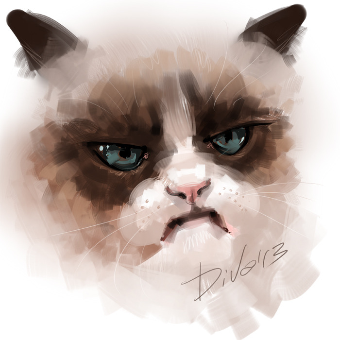 ianbrooks:  Tard the Grumpy Cat: A Face by Diva Lustmond I want to ask how could anyone possibly hate that face, but I'm sure that face probably hates you.  Artist: DeviantArt / Website