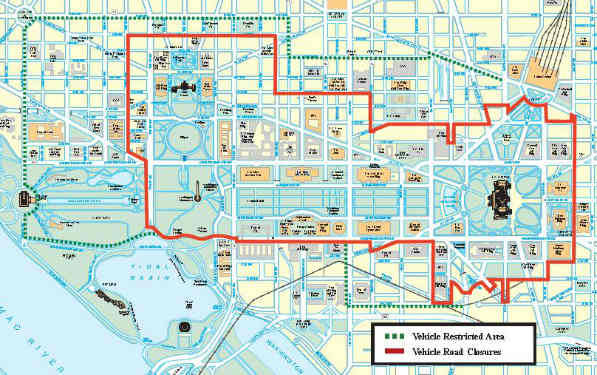 Road Closures, Vehicle Restricted Areas for Inauguration  The U.S. Department of Homeland Security and the Secret Service have institute the following vehicle access and parking restrictions for today's Inauguration activities. You can download the full list (PDF) or the map above (PDF)