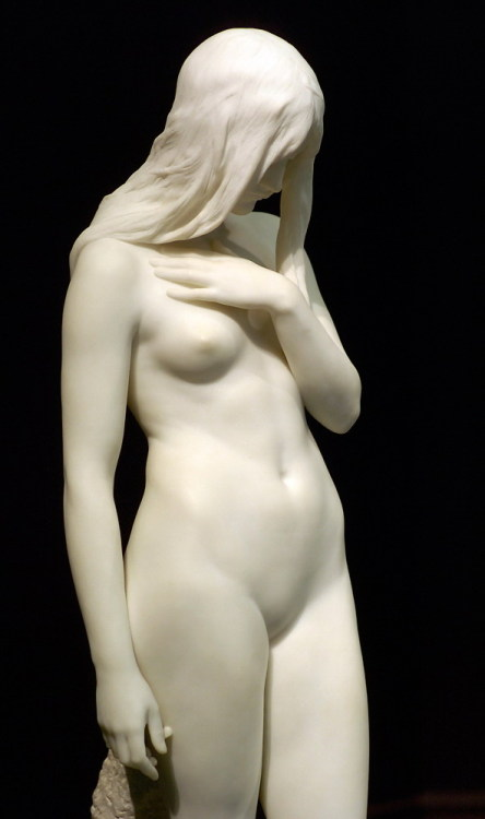 petyagencheva:  statuemania:  Eve by Thomas Brock, 1900, Tate Britain, Millbank, London, UK.   Eve A sculpture entitled 'Eve' by Thomas Brock, whose works include the Imperial Memorial in front of Buckingham Palace and the gilded figure of Albert at the Albert Memorial. Victoria & Albert Museum, London. 'Brock exhibited this life-size female nude as a plaster cast at the Royal Academy in 1898. He completed the marble in the following year, and showed it at the Paris Universal Exhibition. Critics praised its combination of naturalism and spiritualism, as well its subtlety in modelling and expression of feeling. Unusually, Eve is not presented as a temptress. Instead she is shown as self-absorbed, her head bowed as if in shame and her left arm placed protectively across her chest. Brock also produced a number of smaller bronze replicas of this subject.'