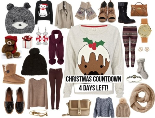 Christmas Countdown: 4 Days Left by ieleanorcalderstyle featuring mulberry handbagsOrganic by John Patrick boat neck shirt / River Island christmas shirt, $33 / White top, $23 / Pringle of Scotland  / Super skinny jeans / Fat Face cable socks, $16 / Red legging, $16 / UGG Australia button boots, $330 / Steve Madden black bootie / Loafer shoes / Lace up shoes / Mulberry  handbag / Burberry leather cross body handbag / Judith Jack shell jewelry / ASOS gold watch / Marc by Marc Jacobs brass jewelry / Alex and Ani gold bangle / Christmas earrings / Plush brimmed hat / Banana Republic round scarve / Topshop chunky knit scarve / Fat Face knit glove, $29 / Oasis pom pom beanie hat, $16 / Gray hat, $13 / Winter Wonderland Jetta Holiday Teddy Bear 28cm, $155 / Red Gift Box Candle Holder | StoreName, $18
