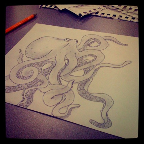 Doodling at work. No eraser! #octopus #drawing