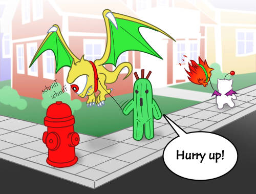 mooglesandmogs:  Walking the pets with cactuar, kupo! (Credit to cramous on DA)