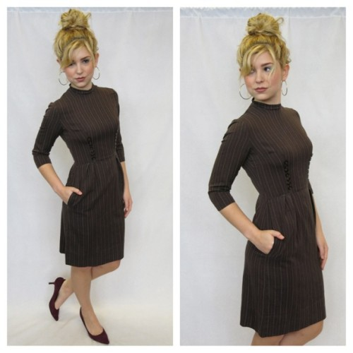 littlebrooklynvintage:  Just listed - 60s Brown Pinstripe Wiggle Dress w/ Novelty Double Button Down Bodice - Extra Small - Shop here