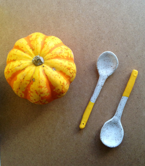 recreationcenter:  Ceramic Sugar spoon with yellow rubber dipped handle