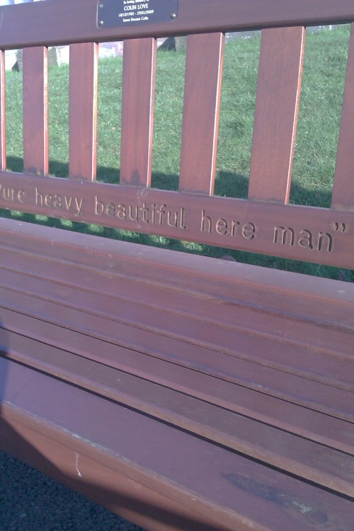 "A bench in the Botanic Gardens, Glasgow.  ""pure heavy beautiful here man"""
