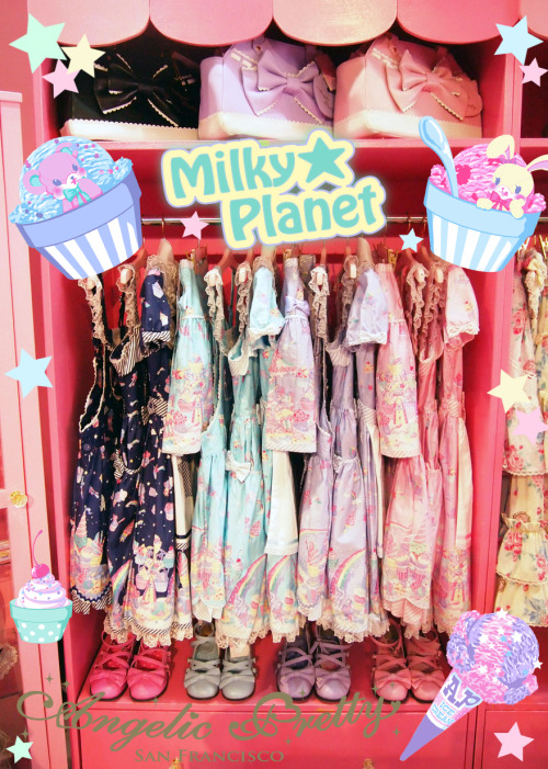 ☆Milky Planet Re-release☆We just got our shipment of Milky Planet!! It arrived a lot earlier than we thought AND another nice surprise with the shipment, more dresses♪♫♪We re-stocked mostly every style & colorway!! The navy is mostly sold out in Japan so this will be your last chance to get it!!Please visit our store or online shop:www.angelicpretty-usa.com/shoppingSeveral people asked if we would be bring Milky Planet series to ACEN.The answer is….. YES!! We will bring the full line of clothing and few accessories♥