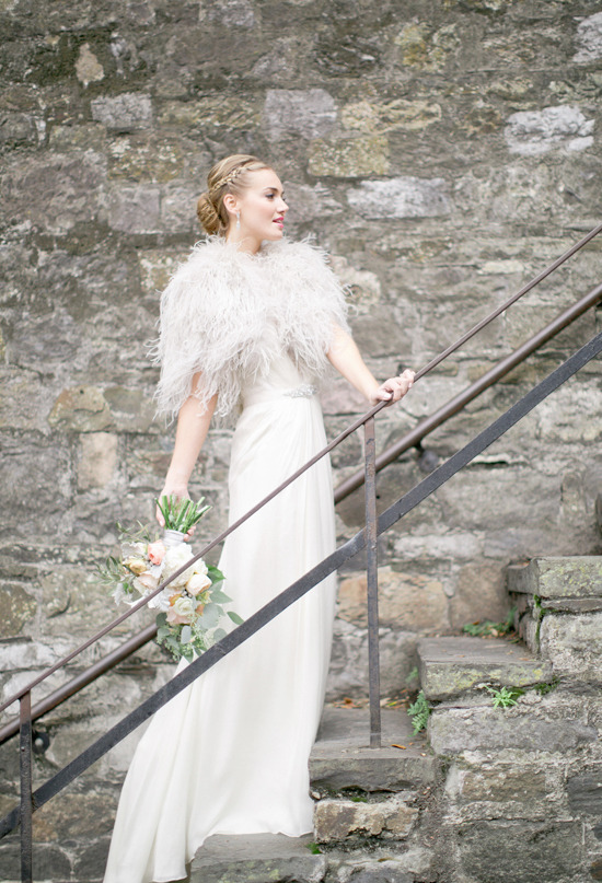"bride2be:  ""This look is just flawless! She's wearing a silk chiffon and lace Aspen gown by Jenny Packham with an ostrich-feather Santorini bridal wrap, also by Jenny Packham."" (via Savannah love story 