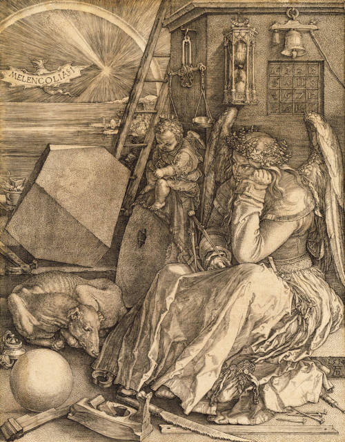 nuclearharvest:  Melancholia I by Albrecht Dürer 1514   One of the four temperaments, she holds the tool of geometry, yet is surrounded by chaos. She thinks, but cannot act, while the infant scrawling on the slate, who symbolizes Practical Knowledge, can act but not think. This is then, the melancholia of an artist. He cannot achieve perfect beauty, which is known only to God, because he cannot extend his thinking beyond the limitations of space and the physical world. from The History of Art by H.W. Jansen
