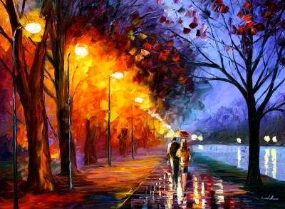 Alley By The Lake by Leonid Afremov   I'm not usually one for art - but this is pretty spectacular!
