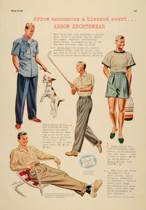 fashion1930s:  #1930sfashion Arrow Shirts menswear advertisement circa 1939