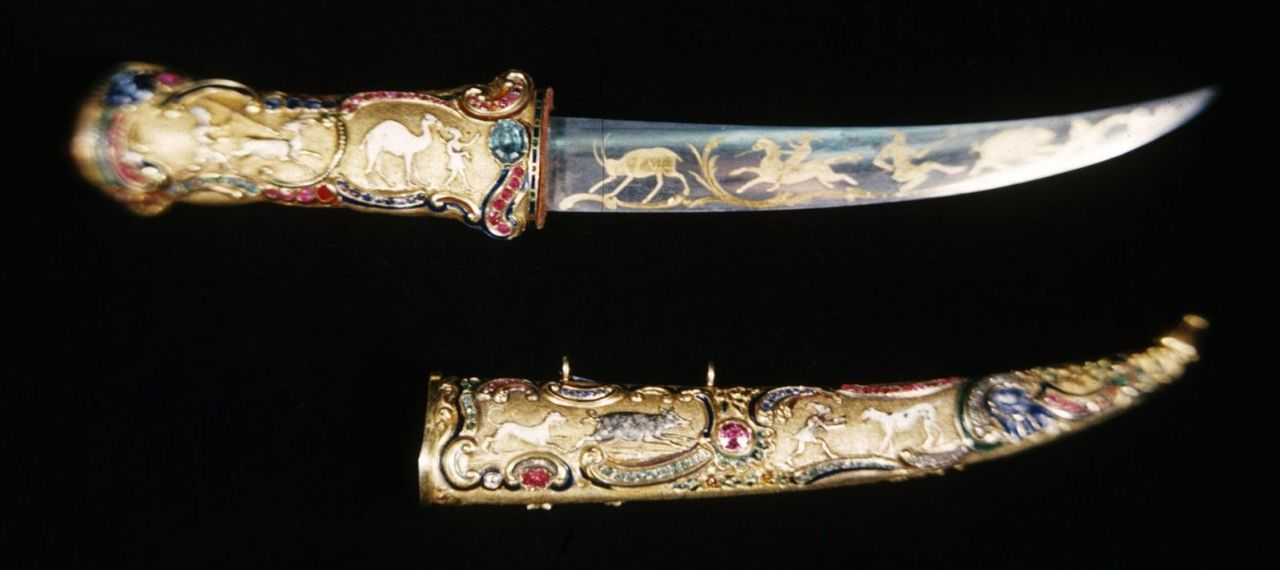 art-of-swords:  Dagger with Scabbard Dated: mid 19th century Culture: Turkish Medium: steel, with gold inlay  Measurements: dagger: 1 1/2 x 9 13/16 x 1 in. (3.8 x 25 x 2.5 cm); sheath: 1 5/16 x 6 5/8 x 3/4 in. (3.3 x 16.8 x 2 cm)  Source & Copyright: The Walters Art Museum   We have this at my room