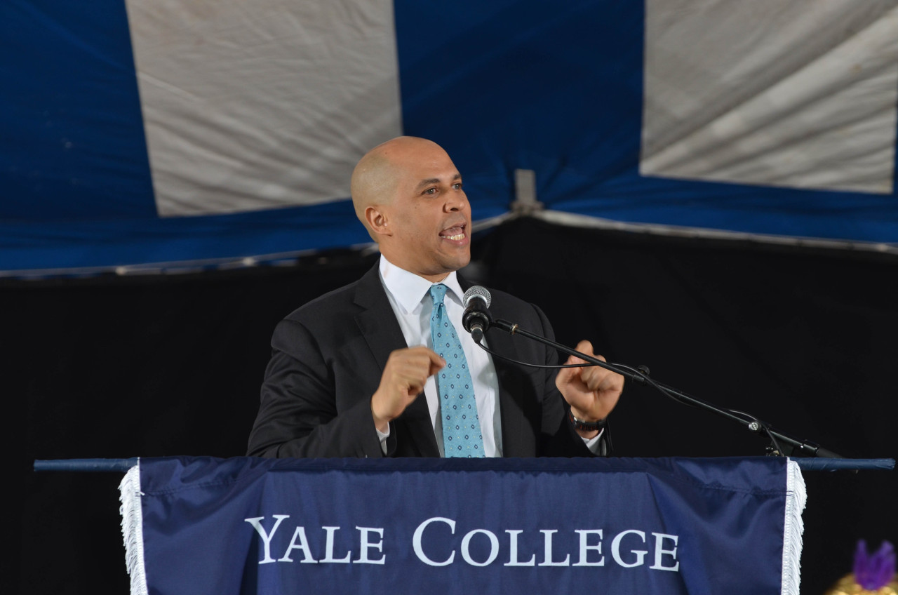 """I see you,"" said Cory Booker '97 J.D., mayor of Newark, New Jersey, addressing the Yale College Class of 2013 during Class Day. Booker told the Class that they are:  ""… stronger than you know, more beautiful than you believe, more powerful than you imagine.""  Photos: Michael Marsland, Yale University"