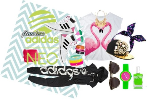 Flawless Adidas by omgitsferucha featuring a neon nailpolishHeart t shirt / Jumpsuits and romper / Shine shoes / Belle Noel by Kim Kardashian statement necklace / Wooden earrings, $110 / By Malene Birger bangle bracelet, $71 / Kate Spade  / O clock watch, $55 / Chain necklace, $16 / Illesteva leopard print sunglasses / Flap hat, $32 / Floral hair accessory / Christian Dior lip makeup / American Apparel neon nailpolish