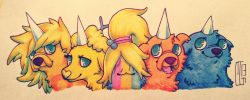 "Rainicorn Puppies from ""Adventure Time""By *Kawekihttp://kaweki.deviantart.com/"