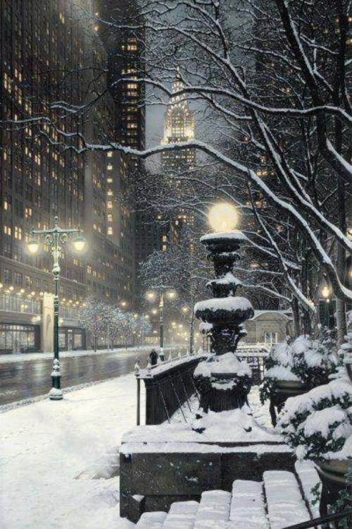 snowy manhattan