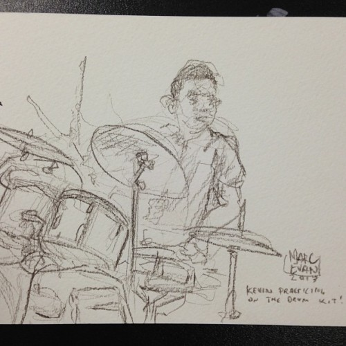 Sketch of Kevin, finishing up band practice. He is one of the talented Youth Artists, me and @chrissoria are working with on a new mural in Brooklyn!
