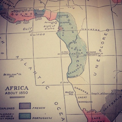 Map from a 1916 book about Africa. Lots of white space.