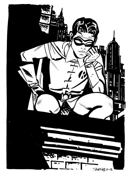 deantrippe:  Robin by Chris Samnee This dude draws everything right.
