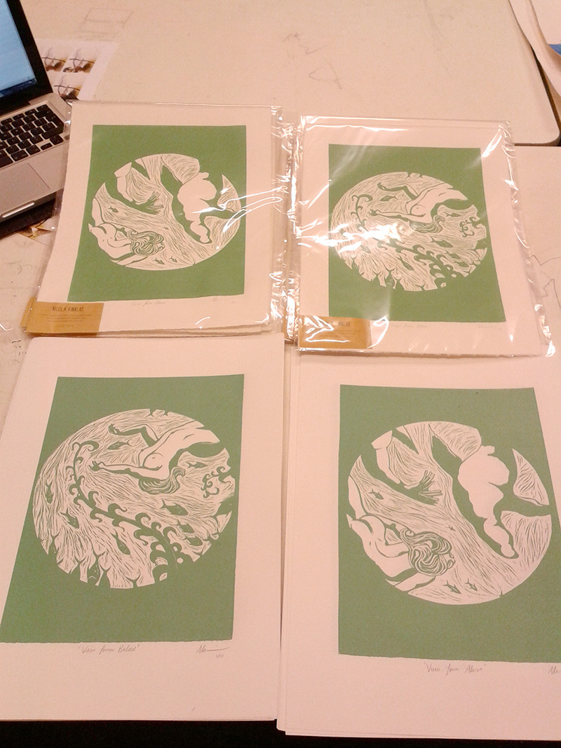 madebynicky:  Prints about the love of the sea. I've made 40 of them to sell at the Pull Me fair at Crate Brewery tomorrow and Saturday! Come to it!