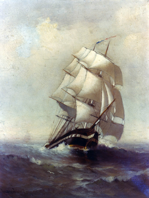 navyhistory:  On 20 May 1844 United States Frigate Constitution sailed from New York to begin a 32,279 mile round the world cruise. This painting of Constitution under sail is by Marshall Johnson, circa 1843-46. NHHC image KN 10996.