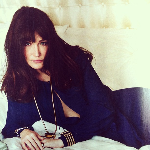 Former #France's First Lady #CarlaBruni looks stunning in #SaintLaurent by #HediSlimane on @VanityFair. Photographed by #NormanJeanRoy