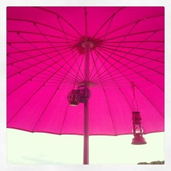 My new oriental terrace umbrella with lanterns…so lovely 🌸💗🏡