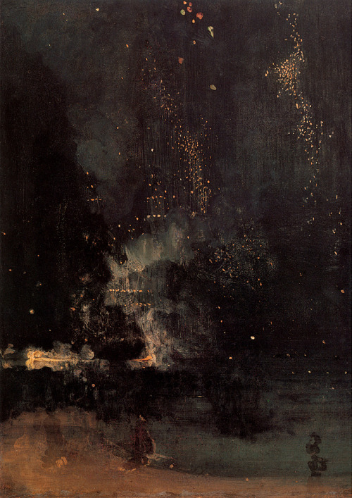 jonyorkblog:  James Abbott McNeill WhistlerNocturne in Black and Gold – The Falling Rocket, circa 1872–1877