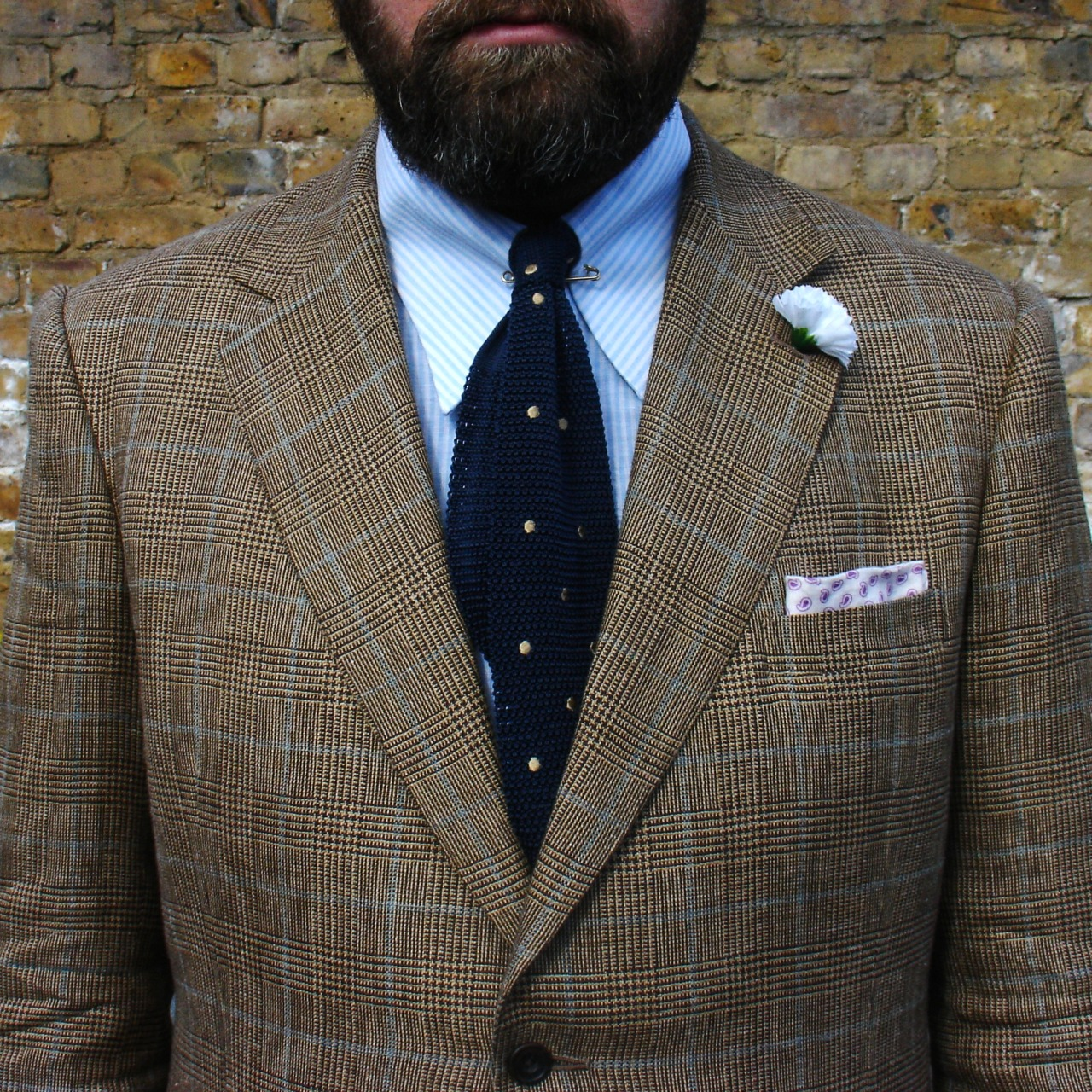 LondonSun  ( aka Four Pattern Bingo ) Bespoke linen/silk mix Glen-check suit cut by John Deboise at Cad & the Dandy Boater by Olney  Watered silk boutonnière from A Suitable Wardrobe Dotted silk knit tie from Howard Yount MtM linen shirt from Joe Hemrajani Vintage bespoke suede shoes by J. Jane & Co via ebay