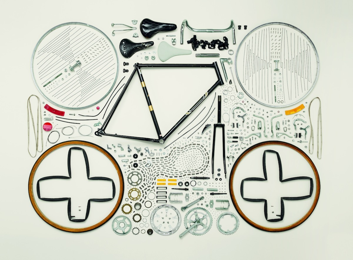 dddmagazine:  From Todd McLellan's 'Things Come Apart': Bicycle Caption: Bicycle, 1980s; Raleigh; Component count: 893 Photo credit: ©2013 Todd McLellan.