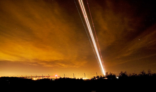 northlightone:  A long exposure of an airliner taking off at Robin Hood airport, Doncaster