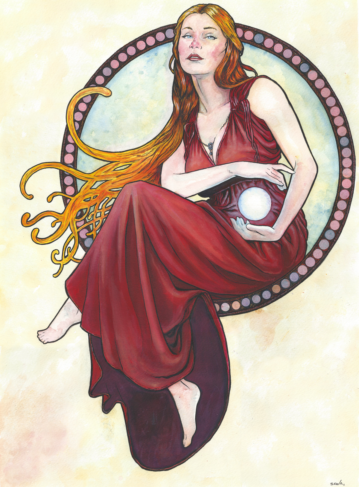 This is the 16th Art Nouveau/Alphonse Mucha inspired watercolor painting in a series I'm producing.THIS PAINTING IS MUCH LARGER THAN PREVIOUS ONES!The painting is on 18x24 inch Strathmore Cold Press watercolor paper. Done in watercolors and ink.Photo reference/inspiration from here…http://kuoma-stock.deviantart.com/art/Art-Nouveau-Winter-14-364847221Original paintings can be purchased here…http://www.etsy.com/shop/ScottChristianSava?section_id=11821287and Limited Edition Prints can be purchased here…http://www.etsy.com/shop/ScottChristianSava?section_id=11821297Thanks for looking!Scott