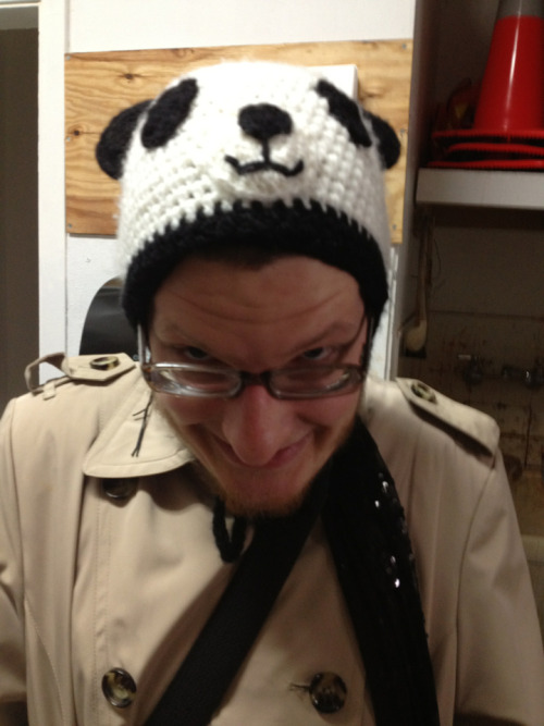 Whitman in his panda hat this morning, on his way to see the Nureyev show at the de Young.