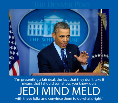 "denverpost:  Obama says he can't 'Jedi mind meld' a budget deal To the dismay of picky sci-fi fans nationwide, a combative President Barack Obama blamed Republican lawmakers Friday for failing to stop automatic spending cuts from beginning to kick in late in the day, arguing he can't perform a ""Jedi mind meld"" to get Republicans to agree on a deal. As Peter Griffin would say, ""D'oh.""  Technicality aside, knowing that the President would use a pop culture reference to help us all better understand the complexities of something like this budget deal does make it seem more real, and something I can relate to better.  The fact that he used (or at least tried to use) the ""Jedi Mind Trick"" implies a couple things to me: 1. The President is, in fact, a Jedi - which we should all support. 2. That the Congress is ""weak-minded,"" since a Jedi mind trick is most effective against those unattuned to the Force."